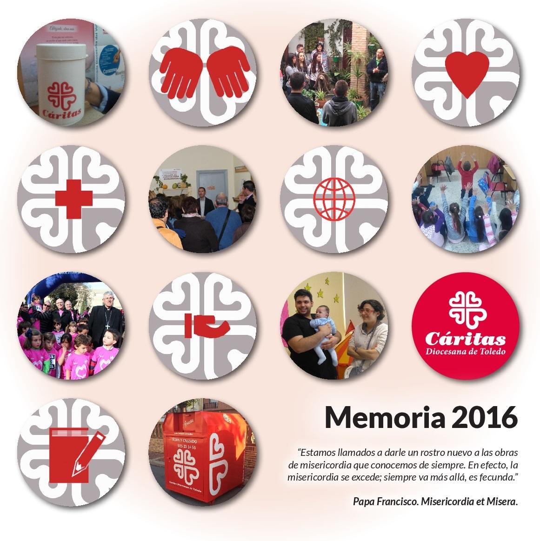 Portada de la Memoria 2016 de Cáritas Toledo.
