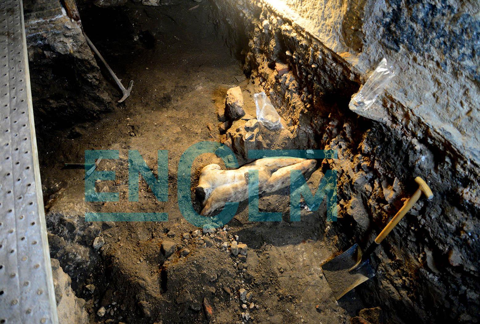 Escultura romana descubierta en la plaza Amador de los Ríos