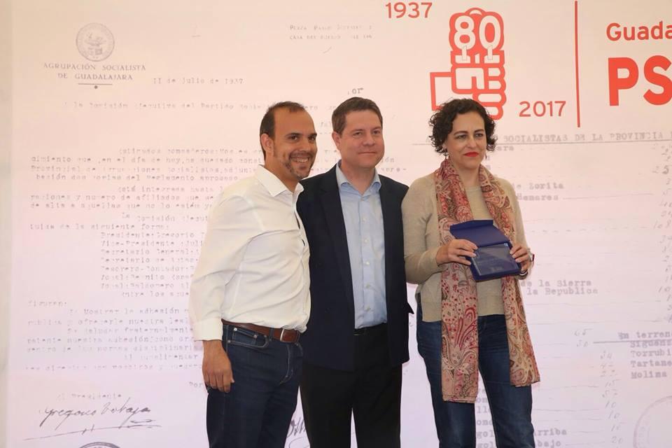 De izquierda a derecha, Pablo Bellido, Emiliano García-Page y Magdalena Valerio. Pedro Sánchez.