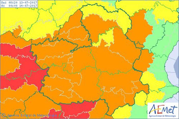 Mapa de alertas de Aemet para el jueves 13 de julio. alerta naranja