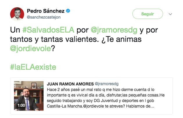 Tuit de Pedro Sánchez sobre Juan Ramón Amores