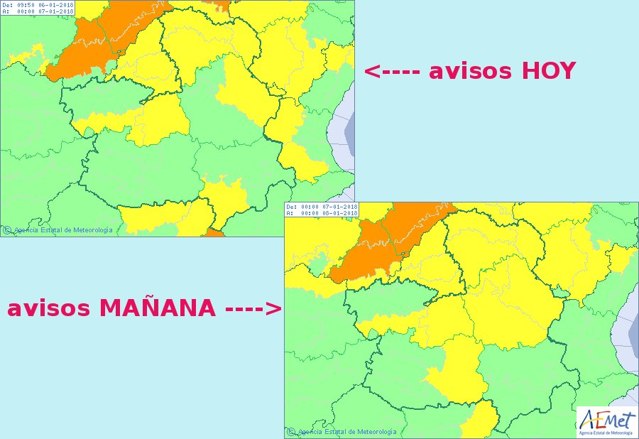 Mapa de alerta amarilla por lluvia y nieve en CLM, vía Aemet