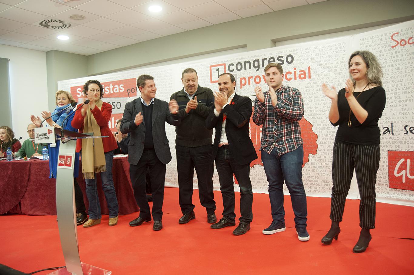 Page con Bellido y Valerio, en el Congreso del PSOE de Guadalajara