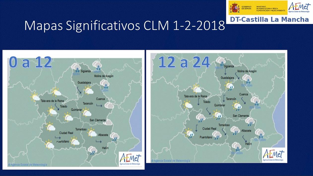 Previsión del tiempo para el 1 de febrero en Castilla-La Mancha. Fuente: Aemet.