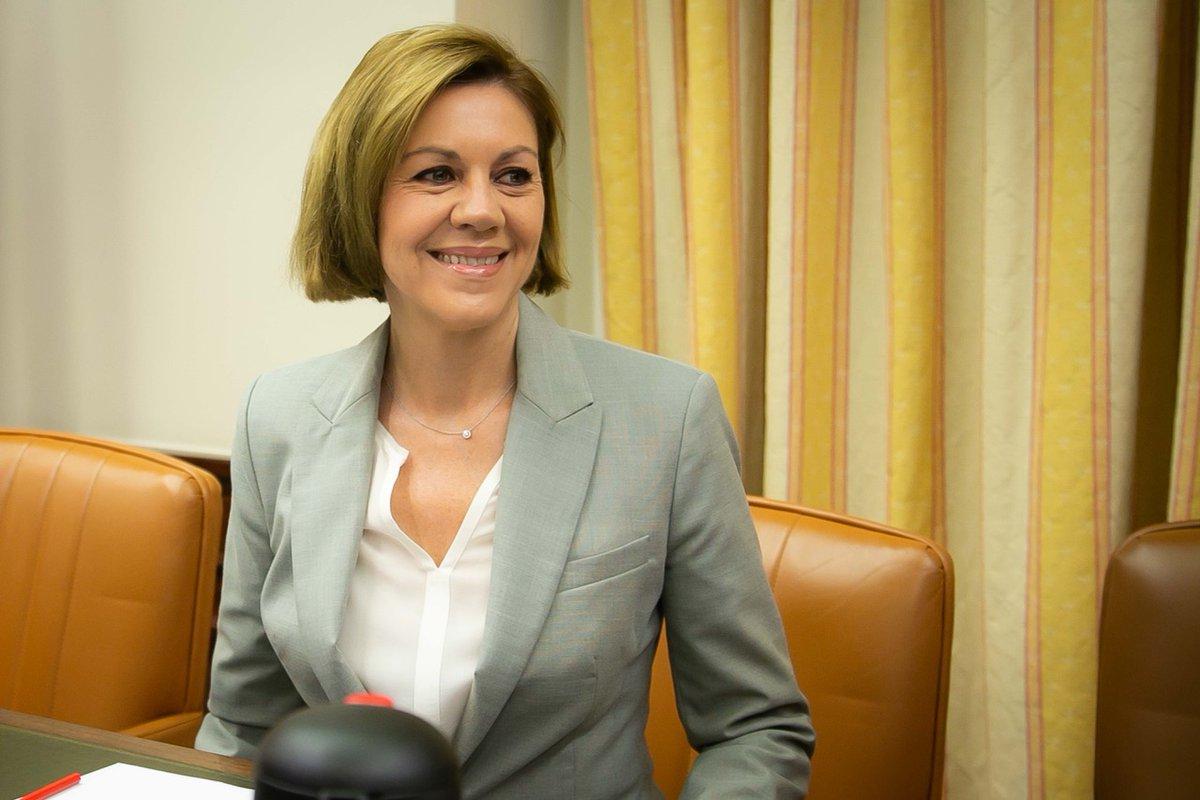María Dolores de Cospedal a su llegada a la comisión del Congreso.
