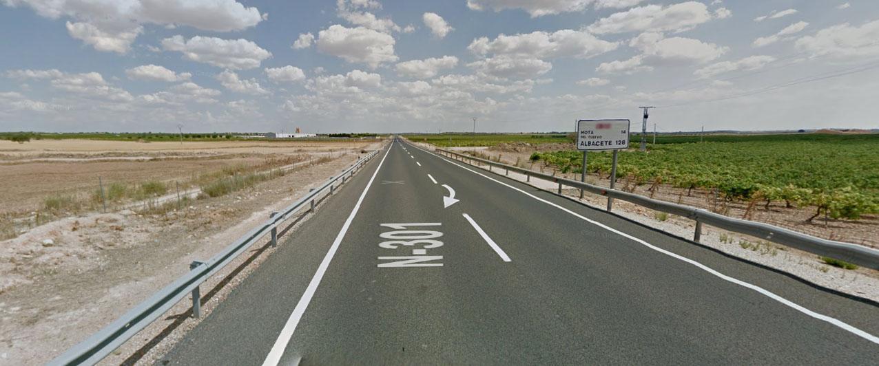 La N-301 a la altura de Quintanar de la Orden, uno de los puntos con más riesgo de accidentalidad de España.