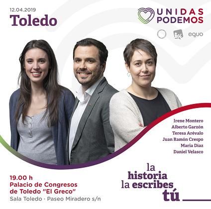 Cartel del acto de Unidas Podemos en Toledo.