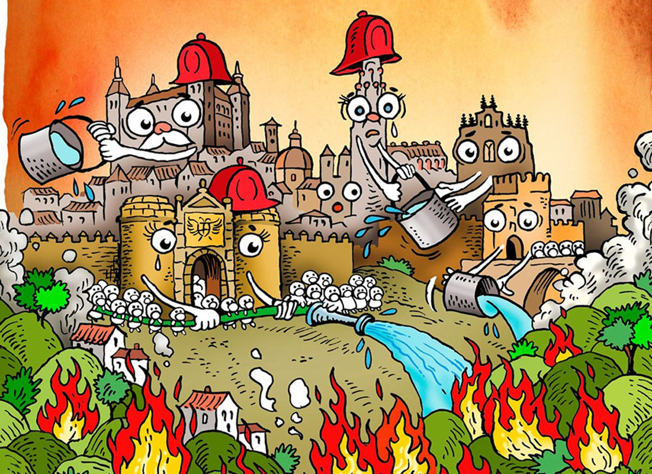 Ilustración de Toni Reollo sobre el incendio de Toledo.
