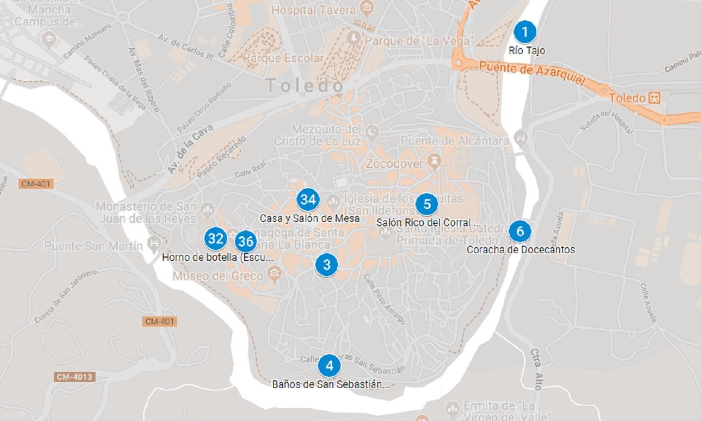 Mapa del patrimonio amenazado en Toledo capital.