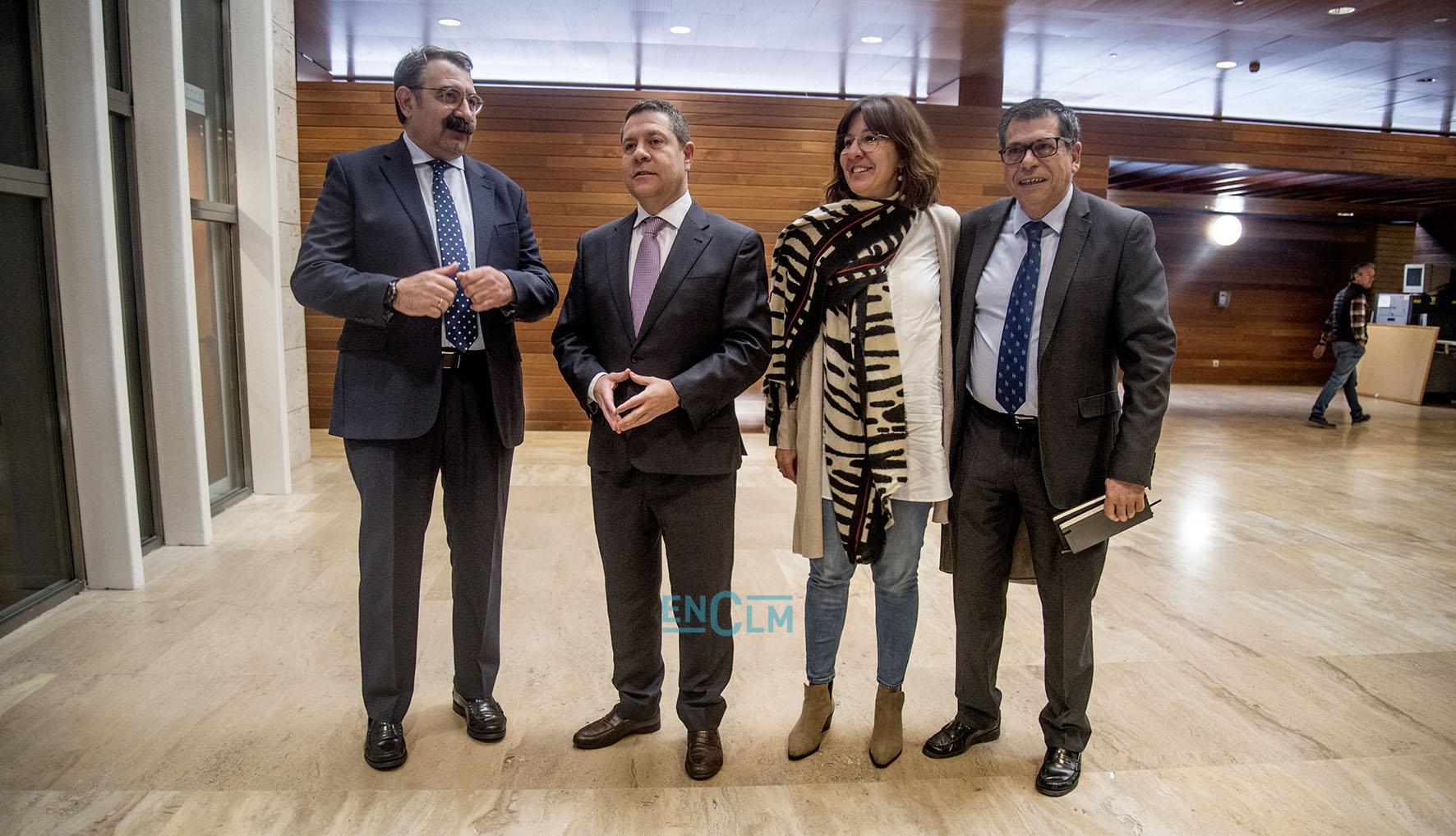 Jesús Fernández Sanz, Emiliano García-Page, Blanca Fernández y Javier Nicolás.
