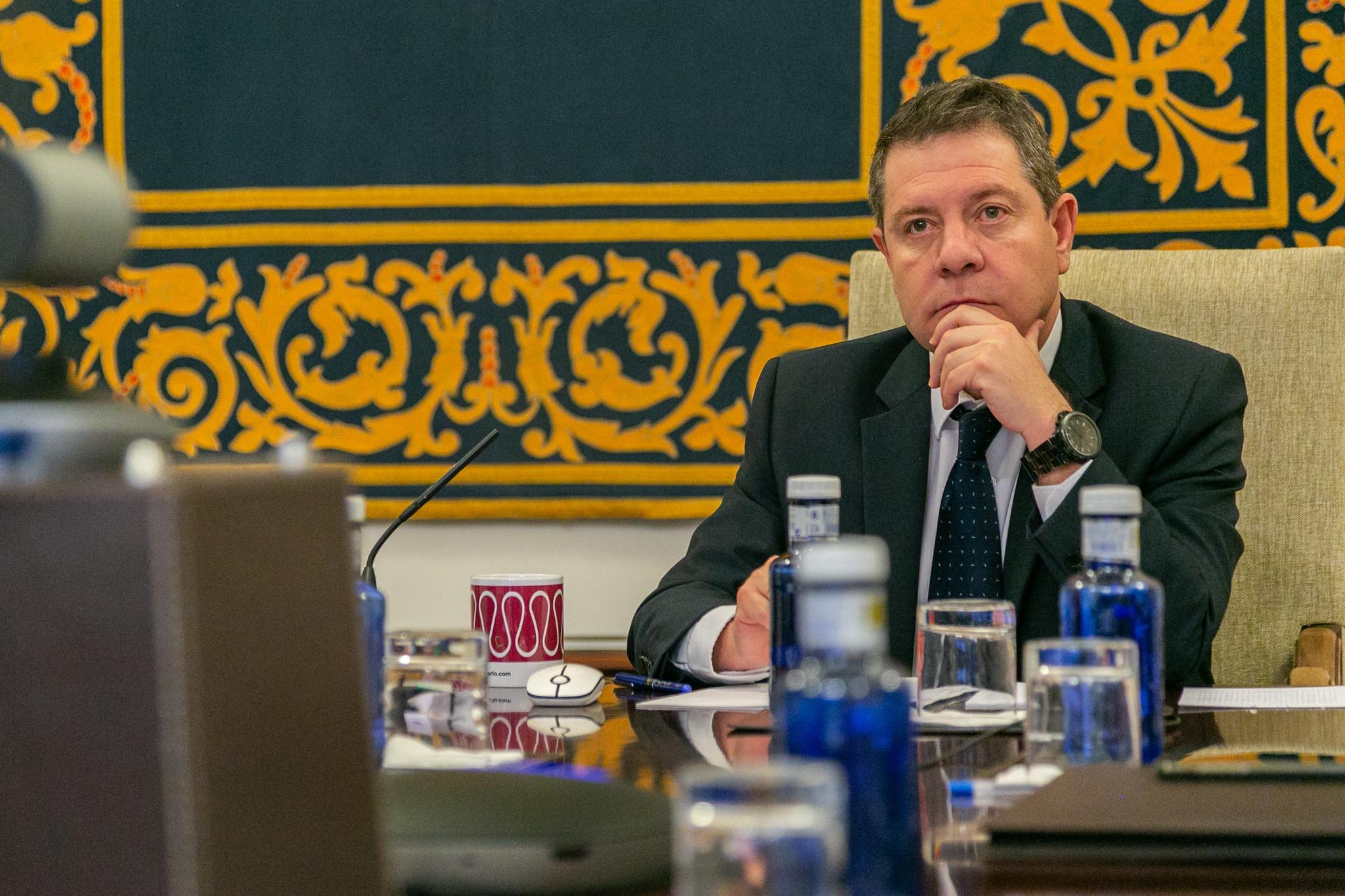 Page durante la videoconferencia con Sánchez y los presidentes autonómicos