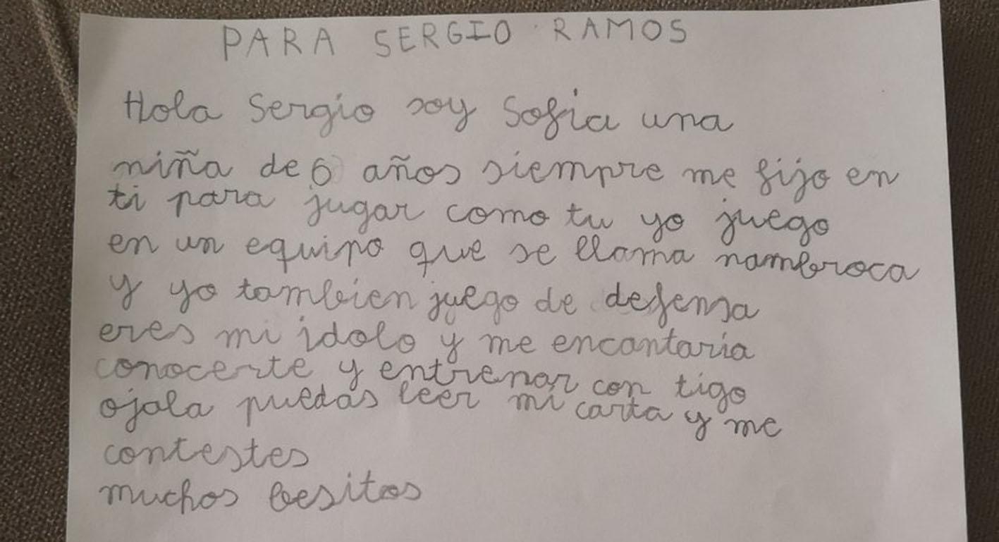 Carta que Sofía le remitió a Sergio Ramos vía Twitter y que posteriormente contestó el defensa internacional del Real Madrid.