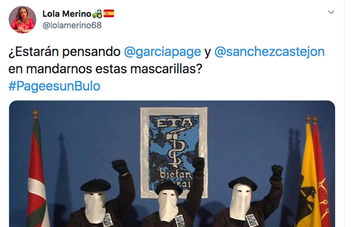 Este es el tuit que ha escrito Lola Merino, portavoz del PP en las Cortes de CLM, y que ha indignado al PSOE.