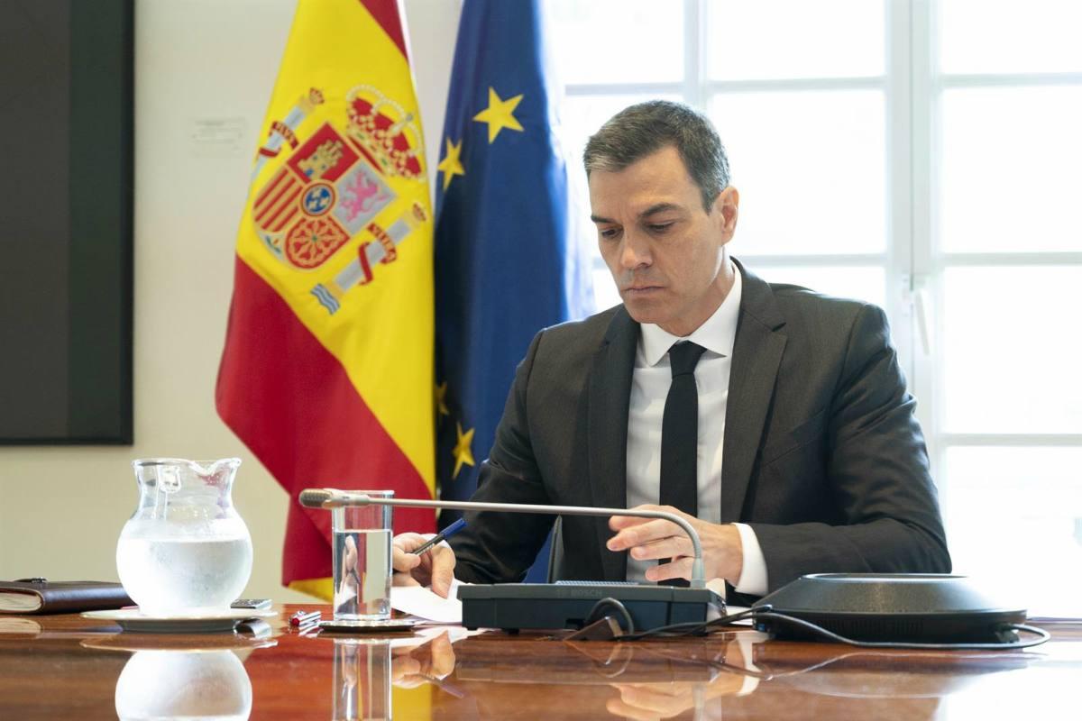 Pedro Sánchez durante la videoconferencia con los presidentes autonómicos.