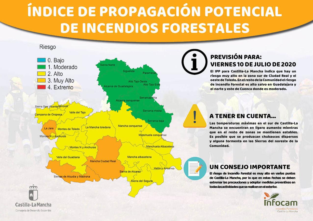 Ojo en la zona oeste de la provincia de Toledo y en el sur de Ciudad Real, porque el riesgo de incendios forestales es muy alto.