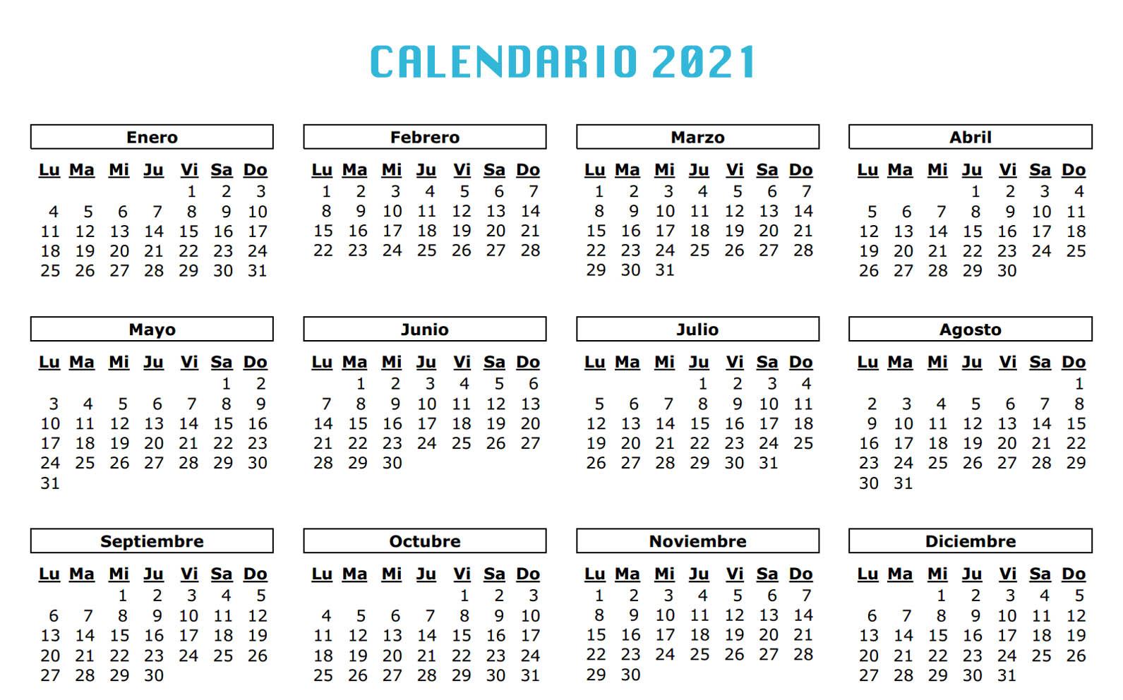 Calendario laboral 2021. festivos, fiestas