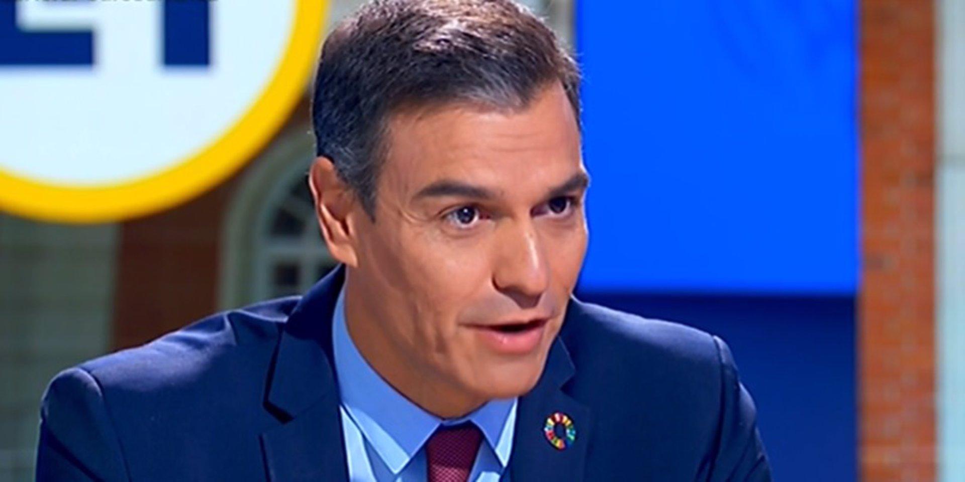 Pedro Sánchez durante una entrevista en RTVE.