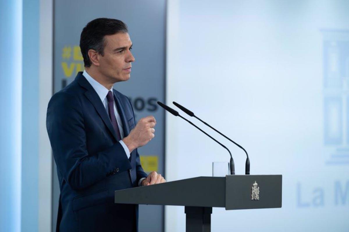Pedro Sánchez, durante una intervención en la Moncloa