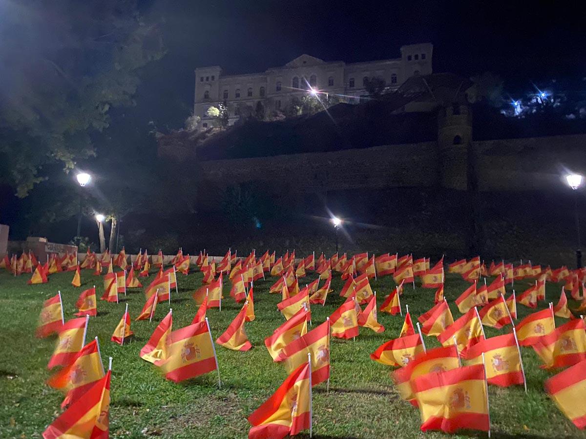 Algunas de las banderas colocadas por Anvac en el Paseo de Recaredo de Toledo