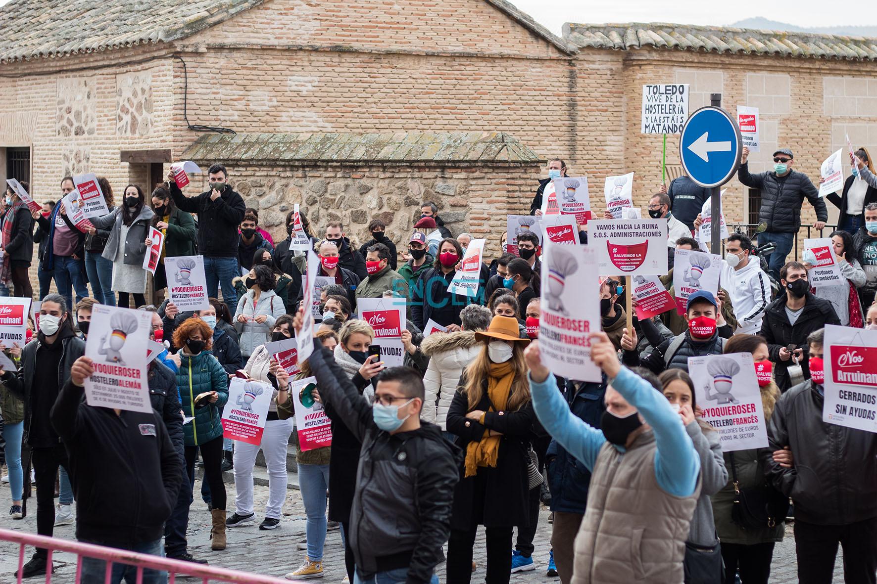 Imagen de archivo de una de las manifestaciones de hosteleros en Toledo.