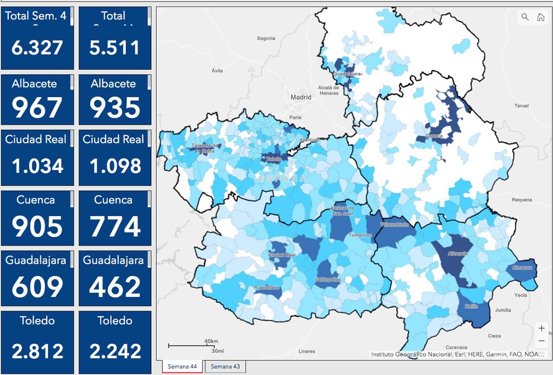 Casos por municipios en Castilla-La Mancha.