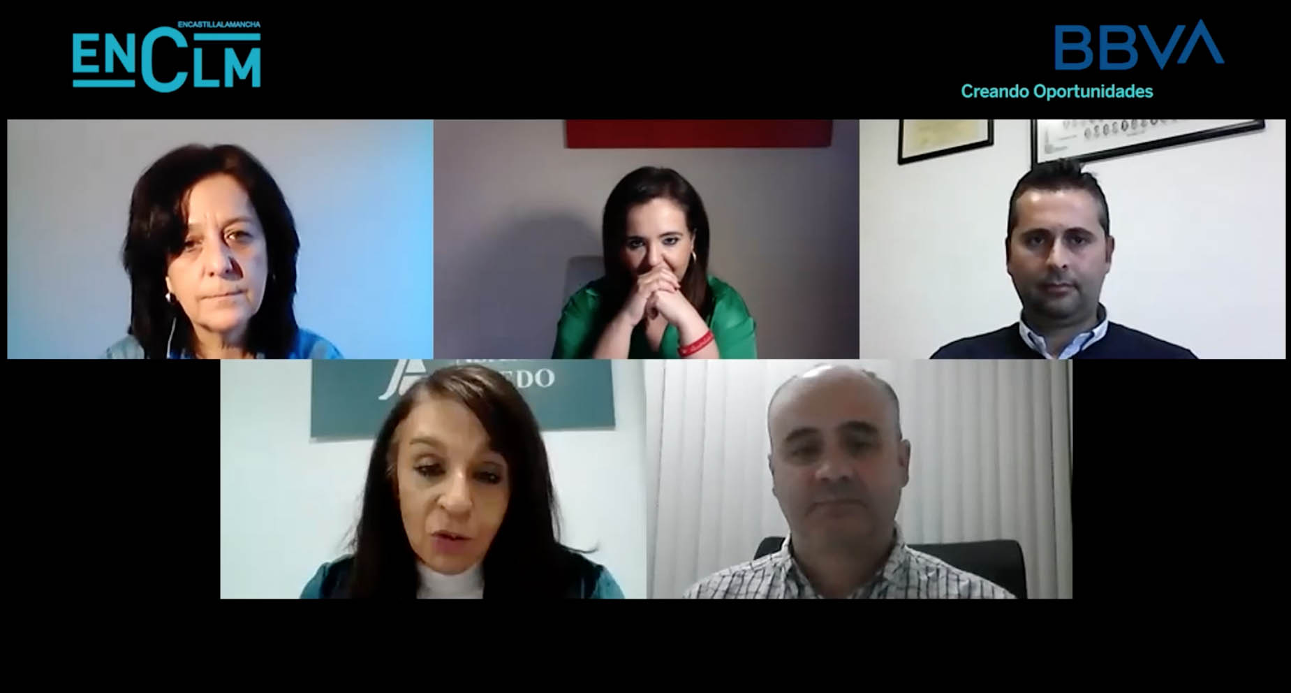 De izquierda a derecha y de arriba a abajo, Sonia Pastor, Mar G. Illán, David Pérez, Blanca Corroto y Fernando Romero.