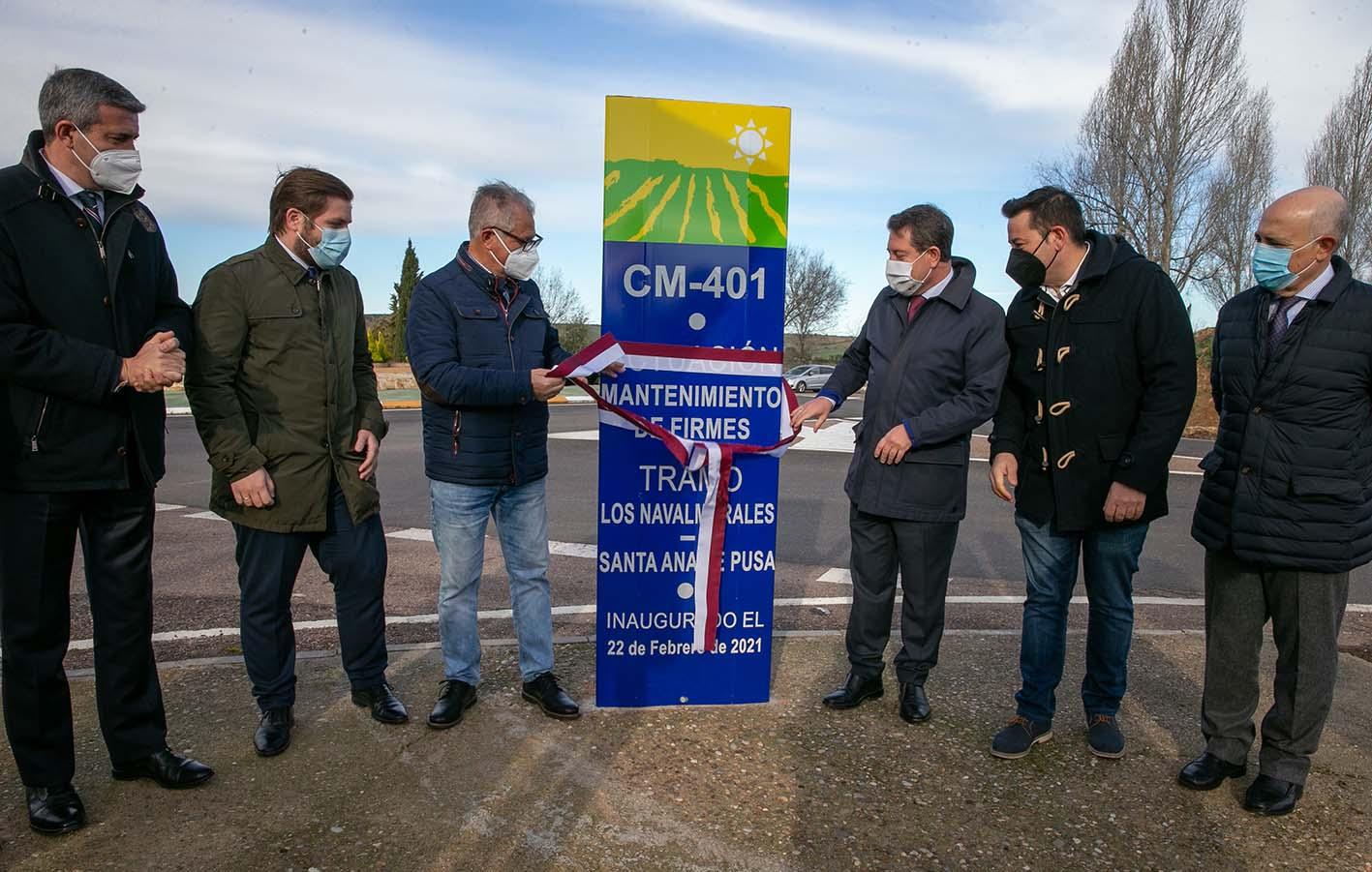 Page, durante la inauguración de un tramo de carretera en la comarca de Talavera.