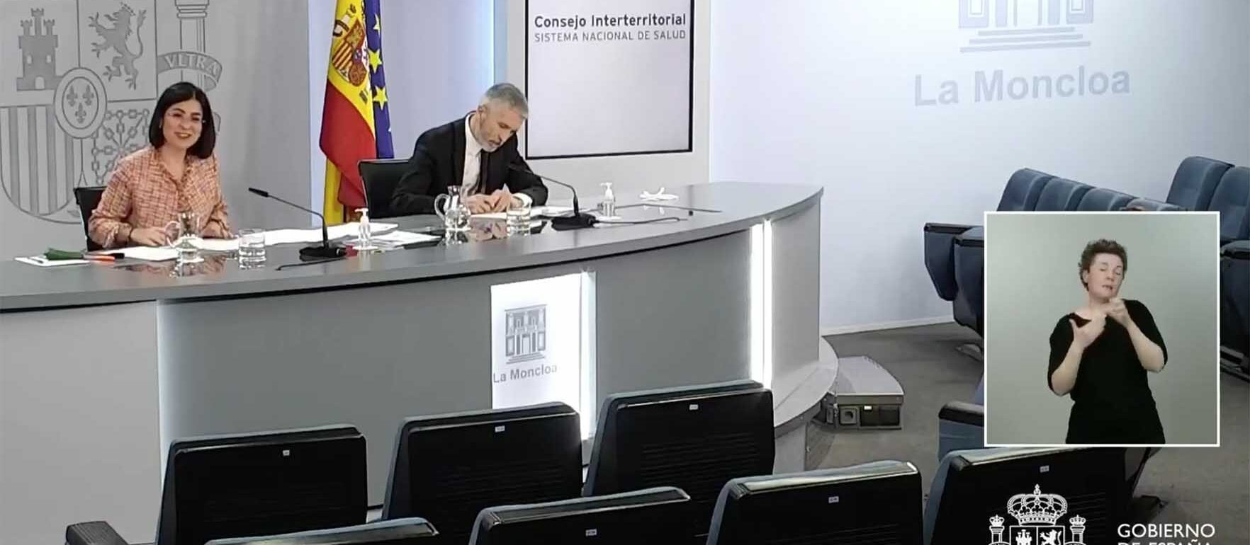 Rueda de prensa tras el Consejo Interterritorial de Salud.