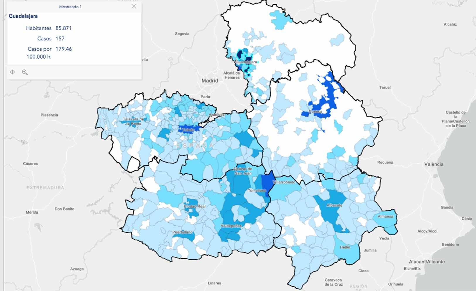 Mapa de los casos por municipios.