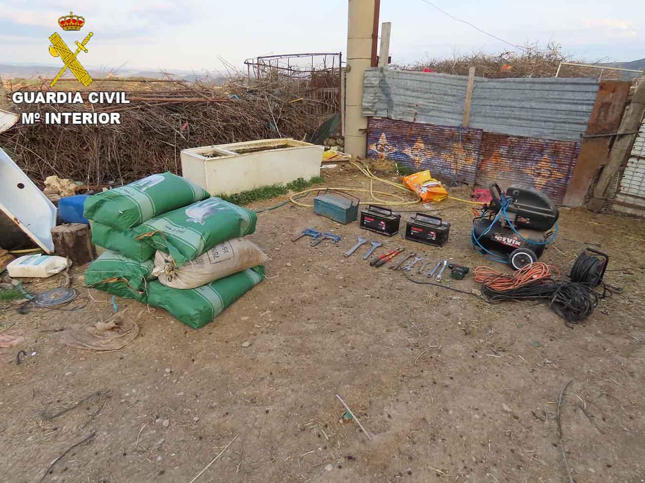 Imagen del material robado en Villalba del Rey.