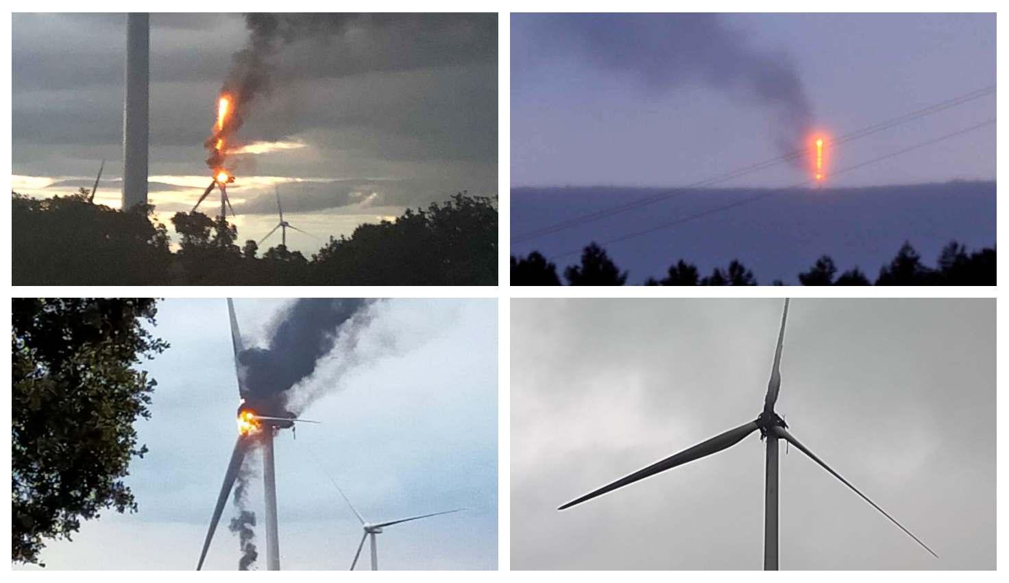 El incendio del molino eólico en Villalba del Rey (Cuenca), en distintas fases. Abajo a la derecha, el estado que presentaba esta mañana.