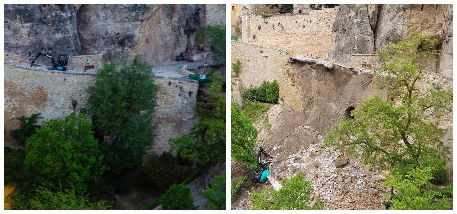 El antes y el después de la zona que se vino abajo ayer en Cuenca.