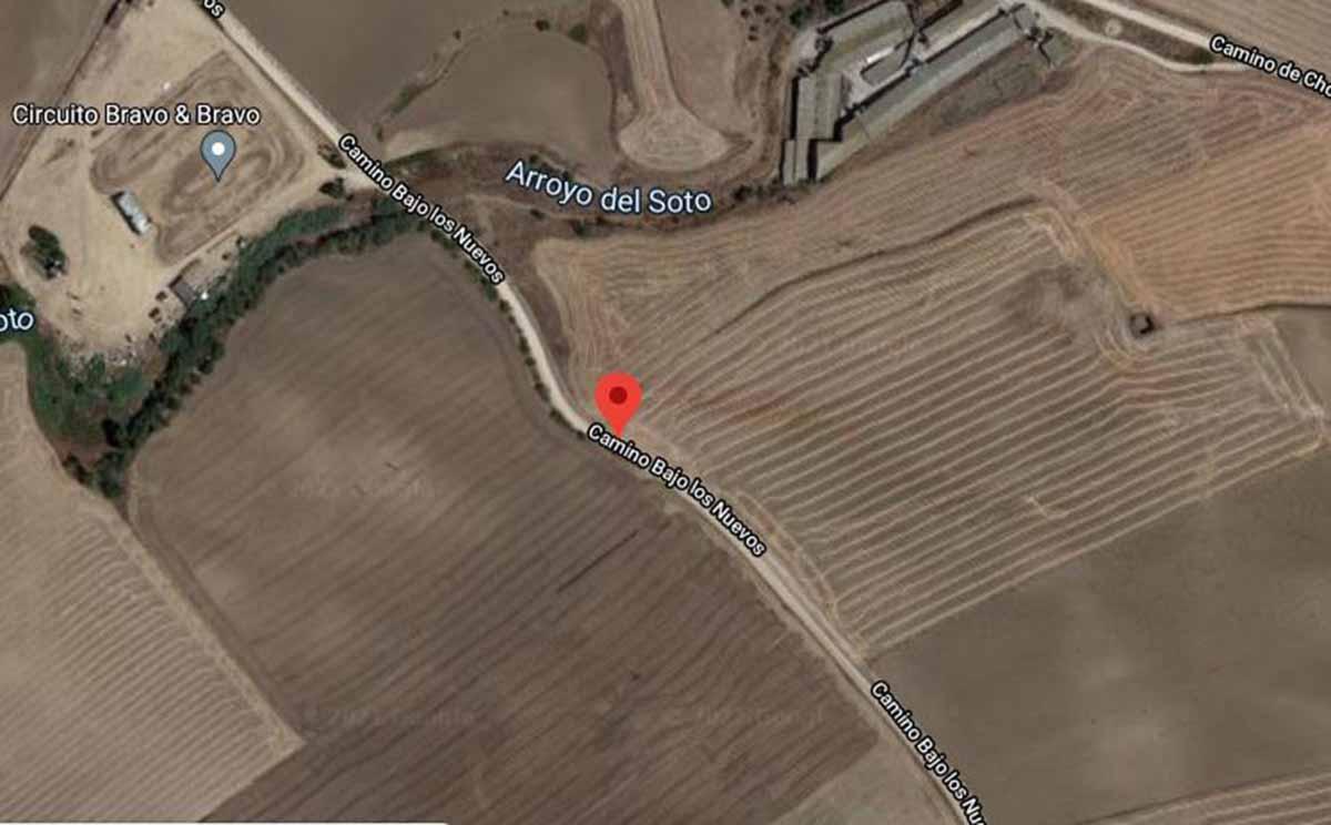Camino Bajo los Nuevos, en Recas, donde un niño fue atropellado. Imagen: Google Maps