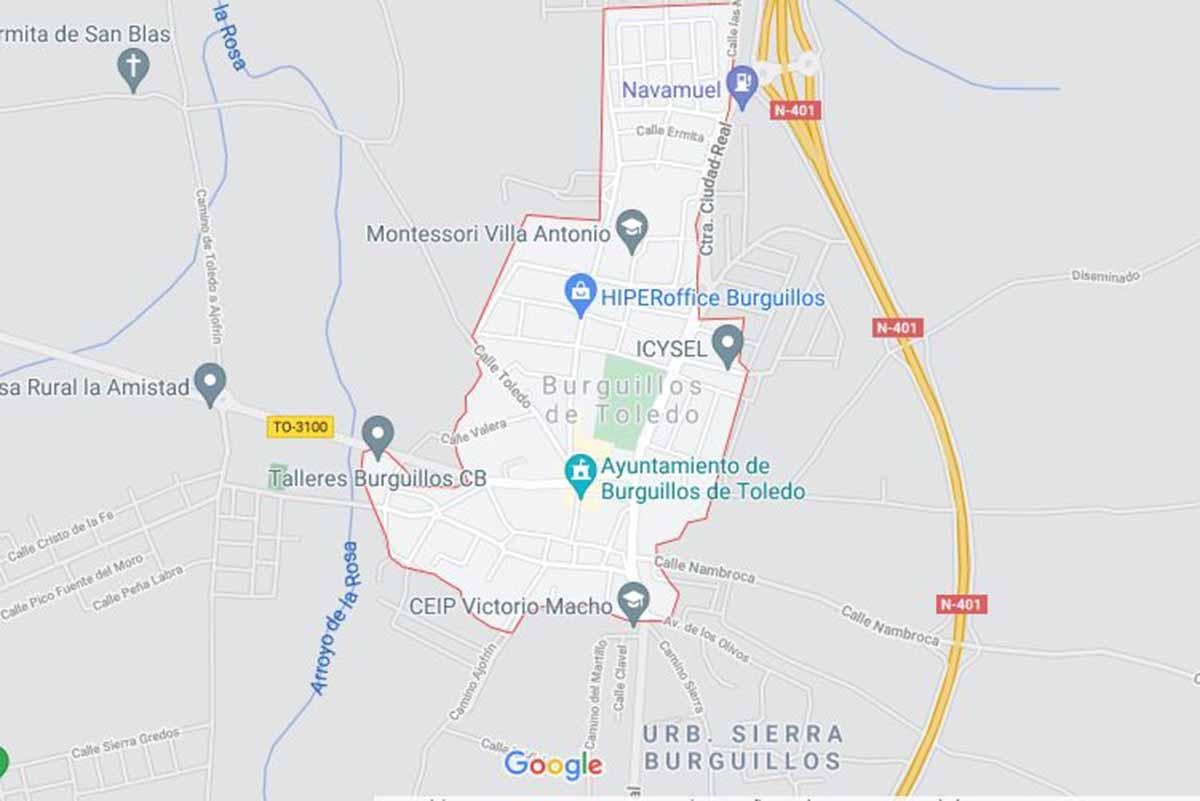 Desactivado el proyectil de la Guerra Civil hallado en Burguillos. Imagen: Google Maps