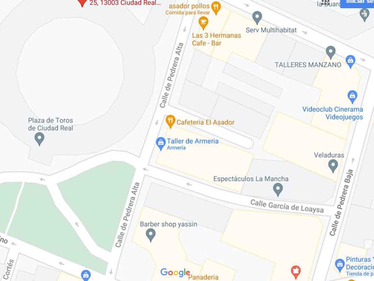 Calle Pedrera Alta de Ciudad Real, donde se produjo una pelea con un herido. Imagen: Google Maps