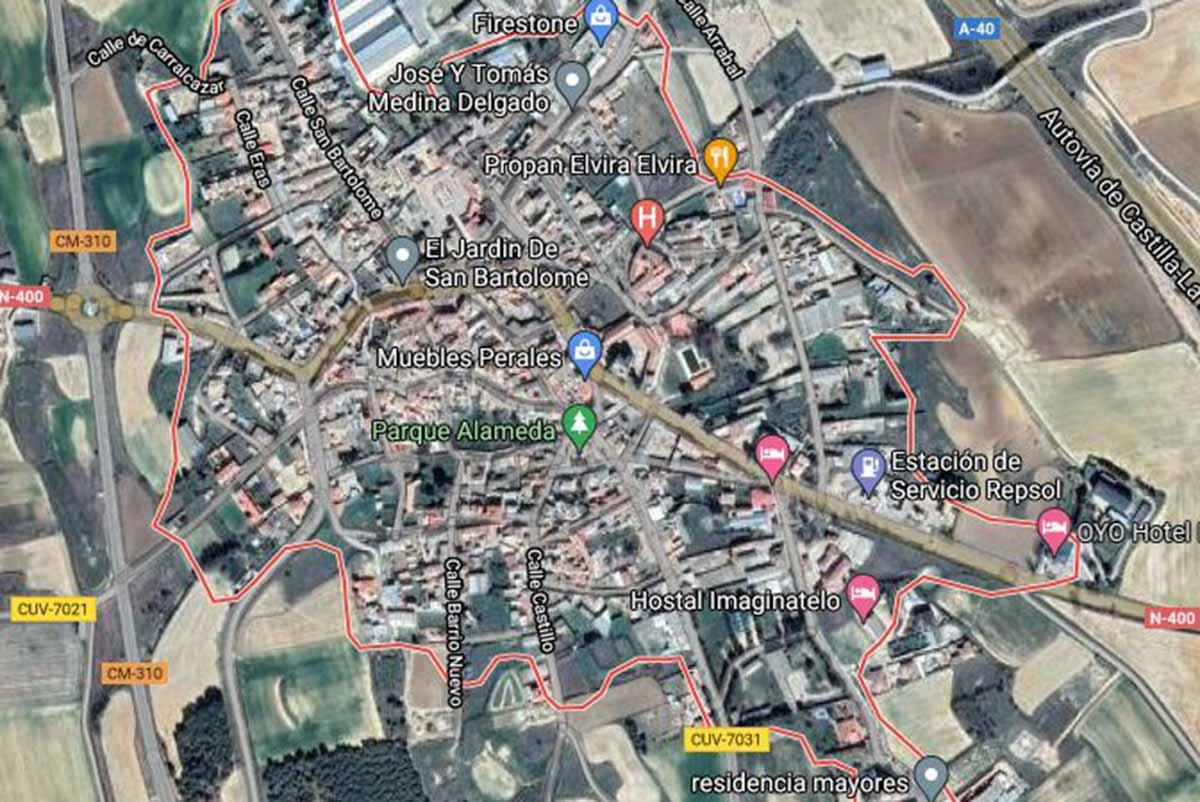 Aspecto en Google Maps del término de Carrascosa del Campo