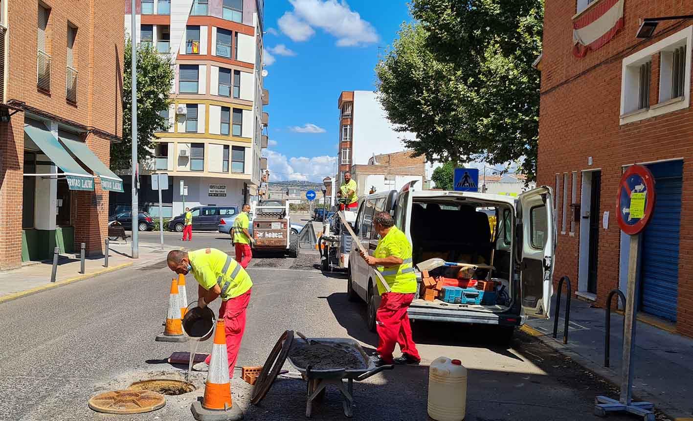 Obras de asfaltado en Talavera
