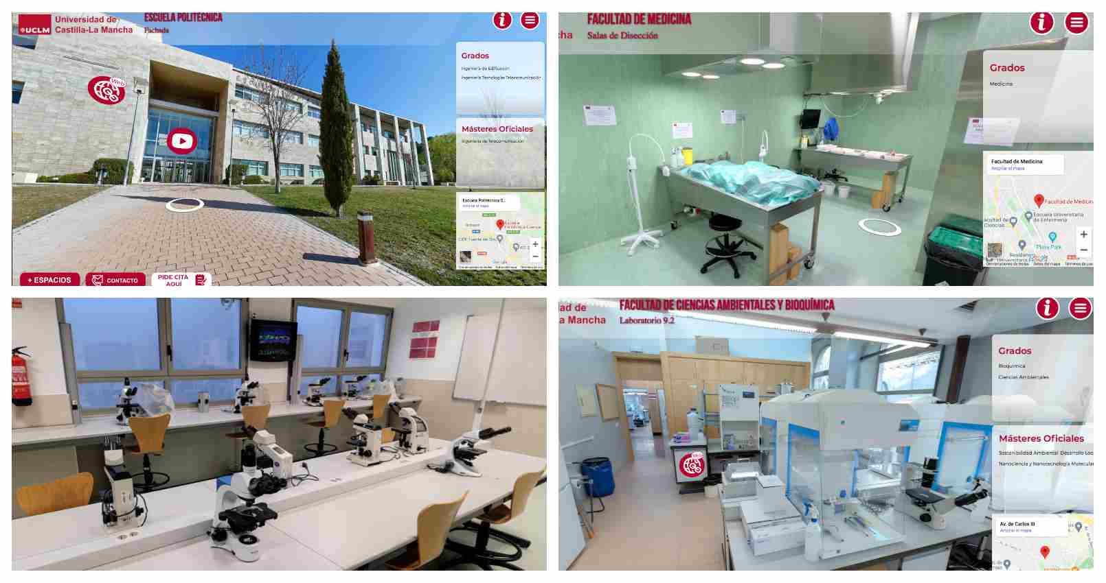 Algunas de los espacios que se pueden visualizar el nos nuevos tours de la UCLM.