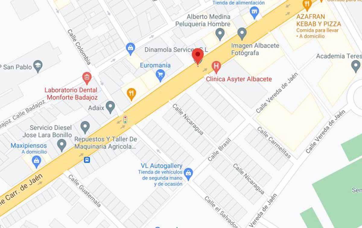 Pelea masiva en la calle Carretera de Jaén, en Albacete. Imagen: Google Maps