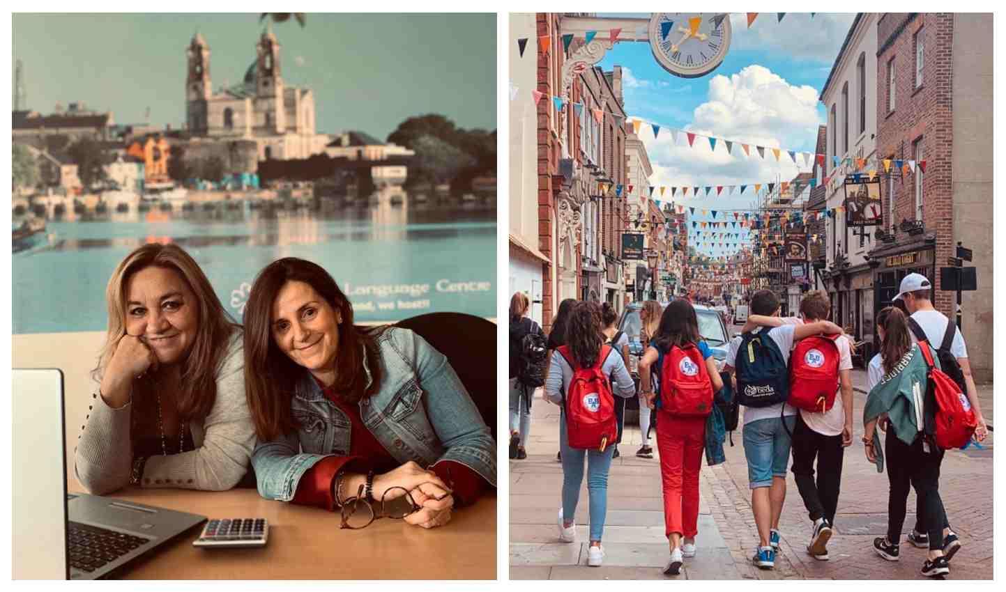 A la derecha, Ángela, la socia de Cristina en Irlanda, junto con la propia de Torres / A la izquierda, algunos de los jóvenes que participan en los programas de BBAcademy.