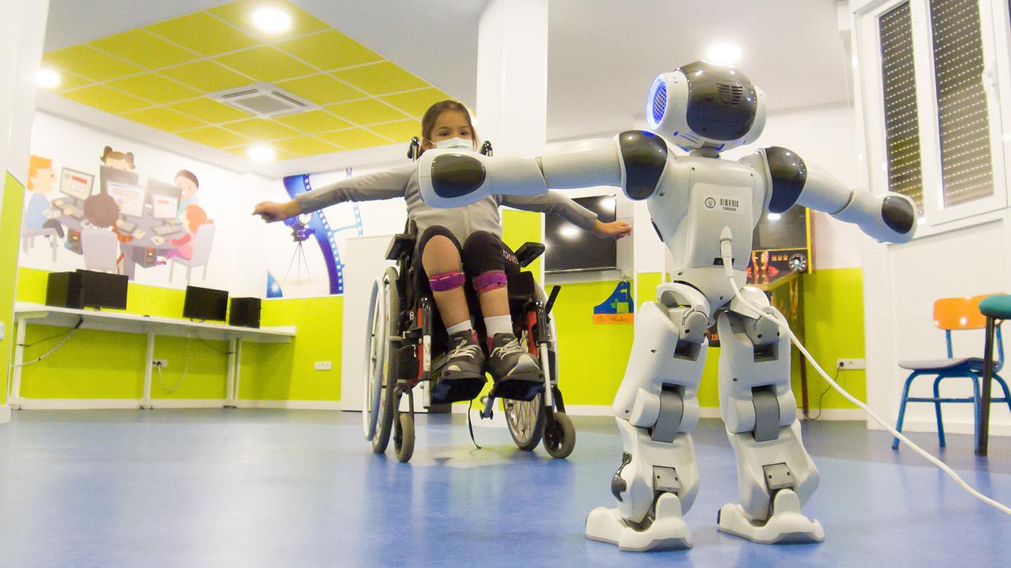 En la imagen, el robot que ayuda en la rehabilitación de los niños y niñas con lesiones medulares.