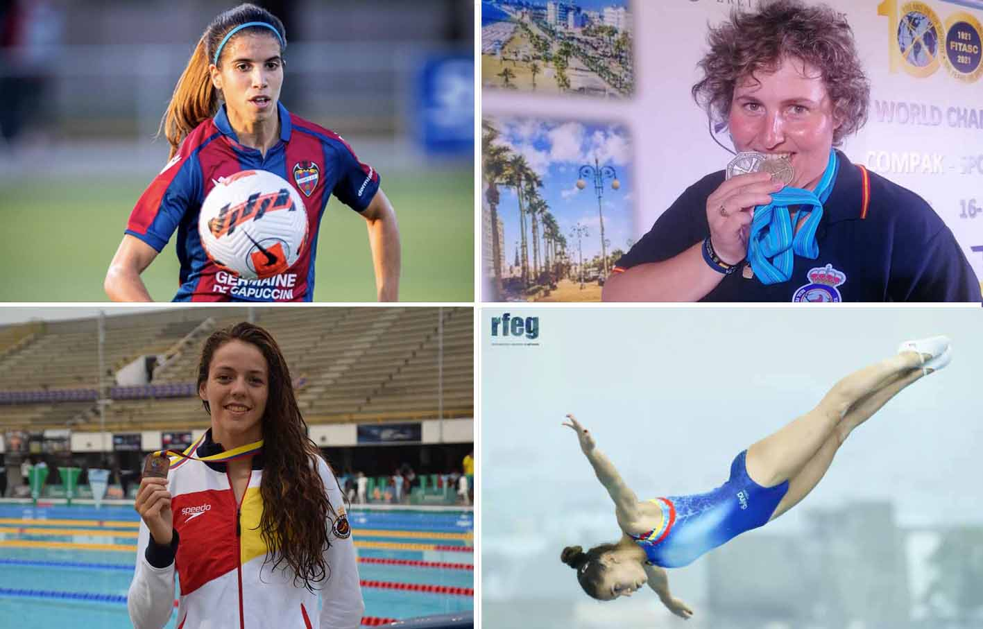 De izquierda a derecha y de arriba a abajo: Alba Redondo, Beatriz Laparra, Nerea Ibáñez y Noemí Romero