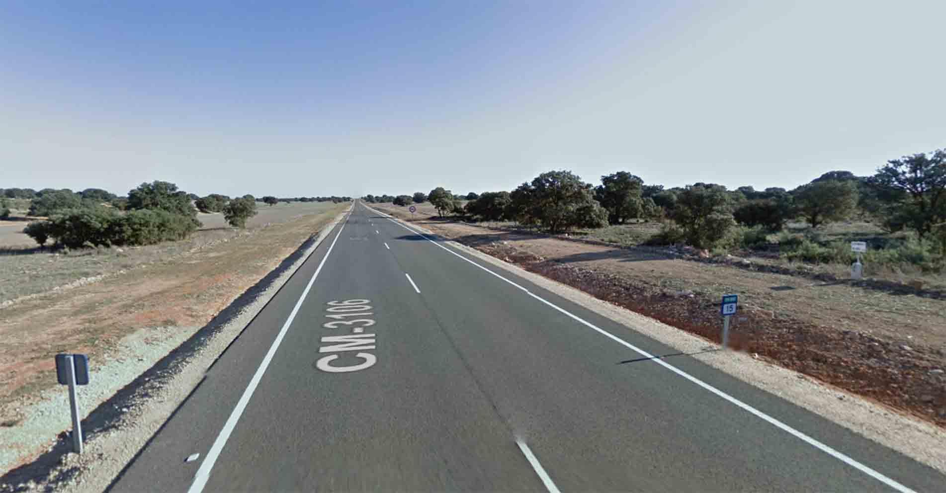 Punto kilométrico 15 de la CM-3106, entre La Roda y Munera. Cerca del lugar donde se ha producido el accidente mortal de La Roda Foto: Google Maps.