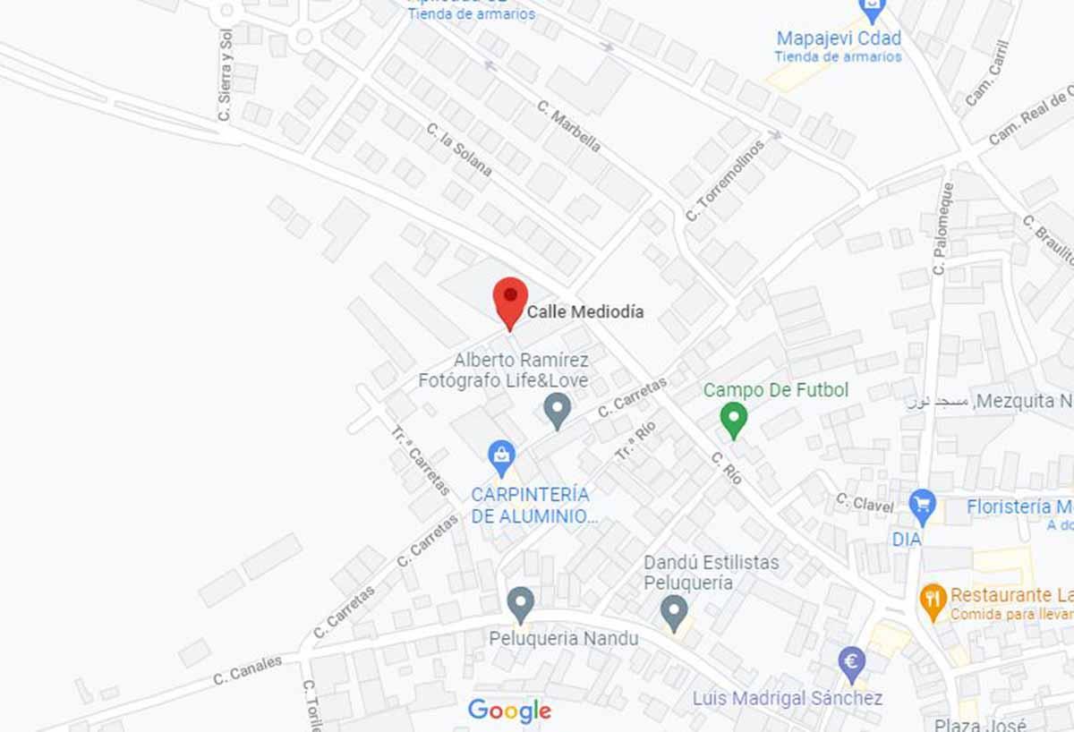 Calle Mediodía en Lominchar, donde un hombre fue atendido por apuñalamiento. Imagen: Google Maps