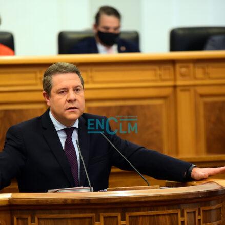 El presidente de Castilla-La Mancha, Emiliano García-Page, durante el Debate del Estado de la Región. Foto: Rebeca Arango.