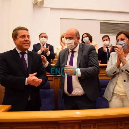Page, junto a su vicepresidente, José Luis Martínez Guijarro; y la consejera de Economía, Empresas y Empleo, Patricia Franco. Foto: Rebeca Arango.