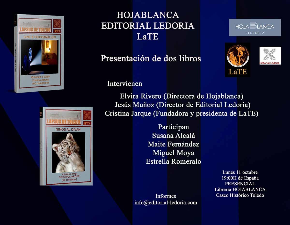 Cartel de la presentación de los dos libros de psicoanálisis en Hojablanca